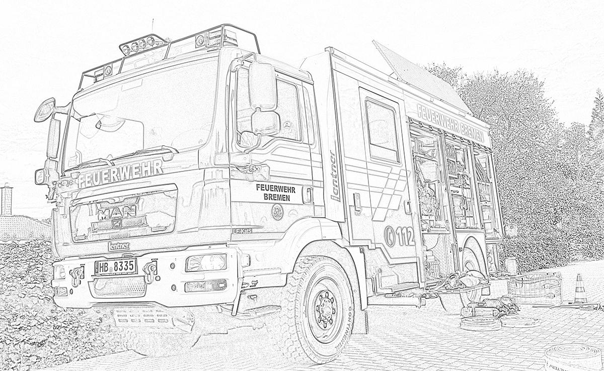 Freiwillige Feuerwehr Bremen Huchting - Feuerwehr zum Ausmalen